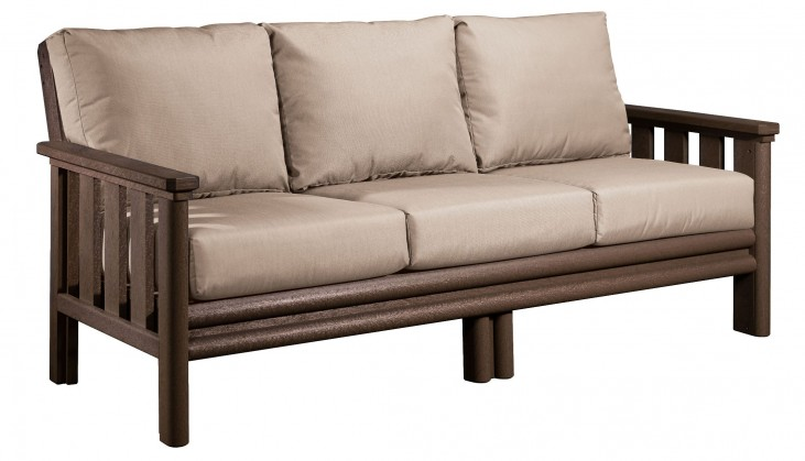 Stratford Chocolate Sofa With Beige Sunbrella Cushions