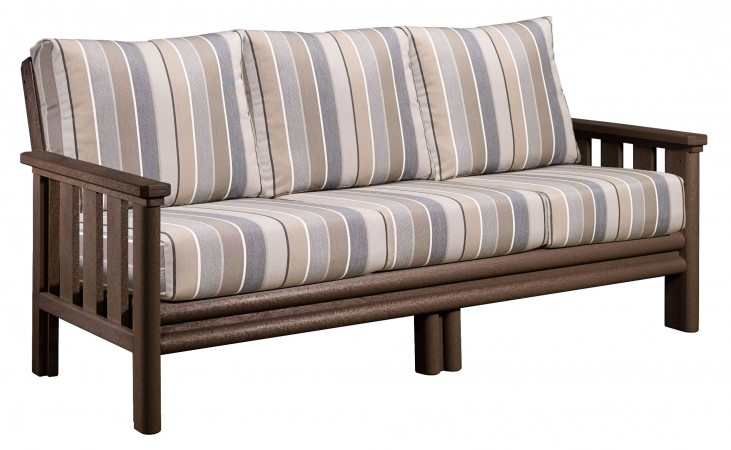 Stratford Chocolate Sofa With Milano Charcoal Sunbrella Cushions