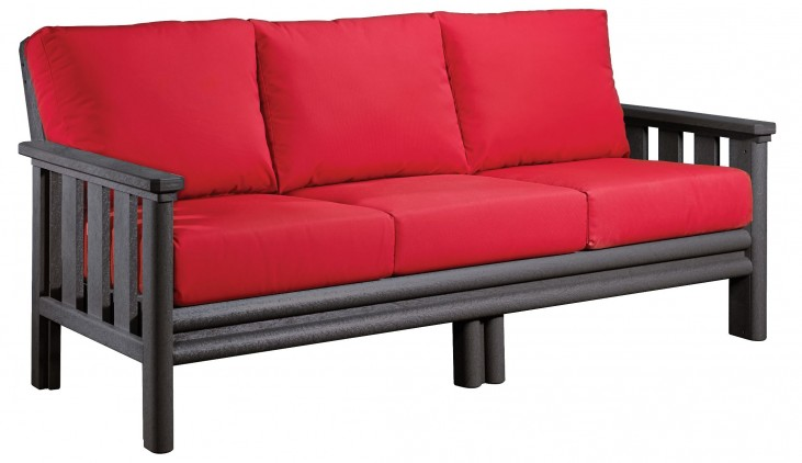 Stratford Slate Gray Sofa With Jockey Red Sunbrella Cushions