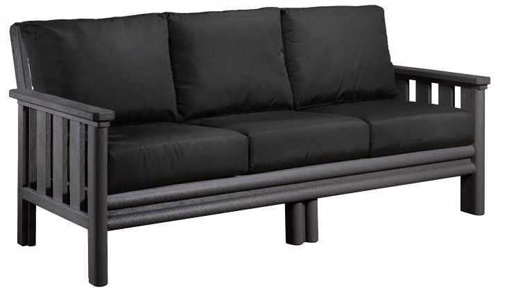 Stratford Slate Gray Sofa With Black Sunbrella Cushions