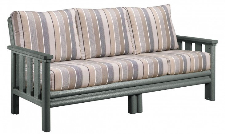 Stratford Slate Gray Sofa With Milano Charcoal Sunbrella Cushions