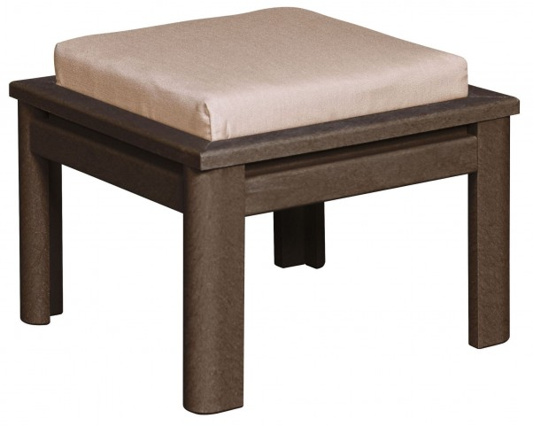 Stratford Chocolate Small Ottoman With Berenson Tuxedo Cushions