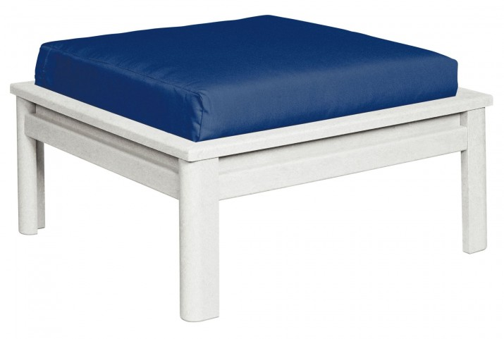 Stratford White Large Ottoman With Indigo Cushions