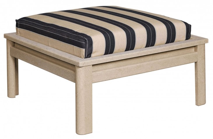Stratford Beige Large Ottoman With Berenson Tuxedo Cushions