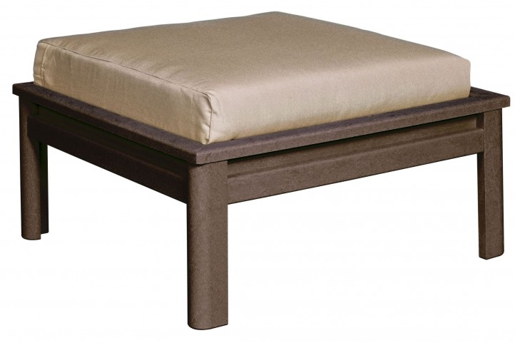 Stratford Chocolate Large Ottoman With Beige Cushions