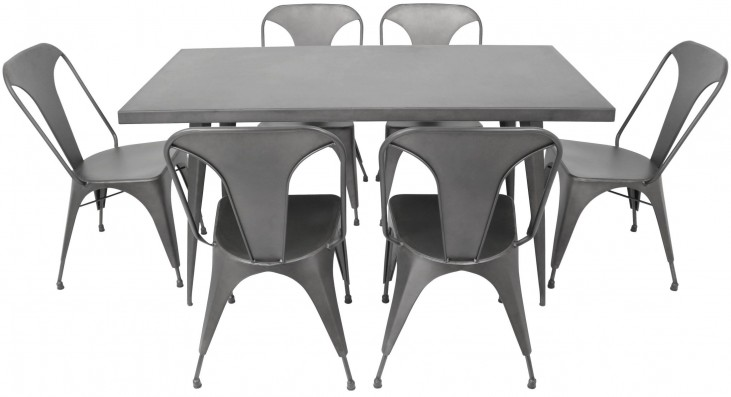 Austin Rectangular Matte Grey Dining Room Set