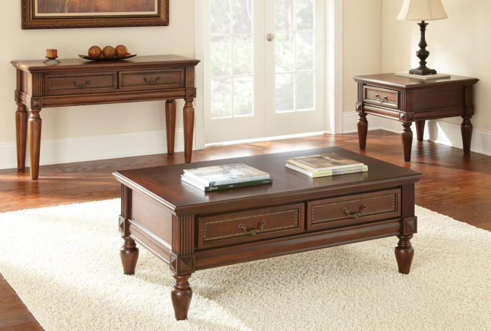 Davina Warm Cherry Occasional Table Set