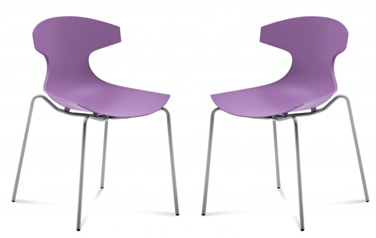 Echo Purple Stacking Chair Set of 2