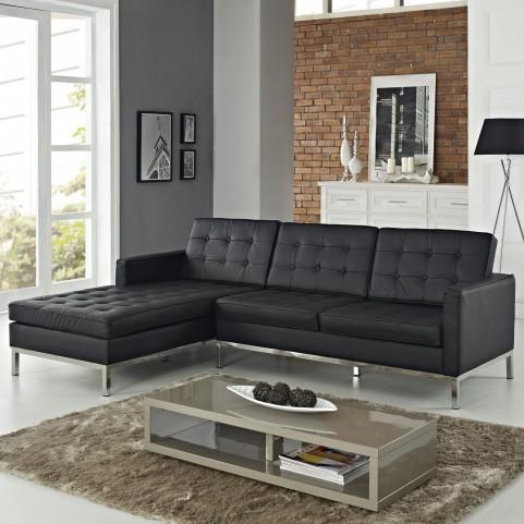 Loft Black Left-Arm Leather Sectional Sofa