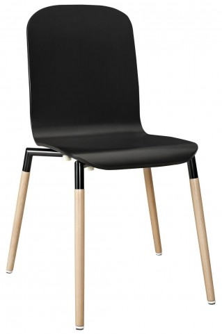 Stack Black Dining Wood Side Chair