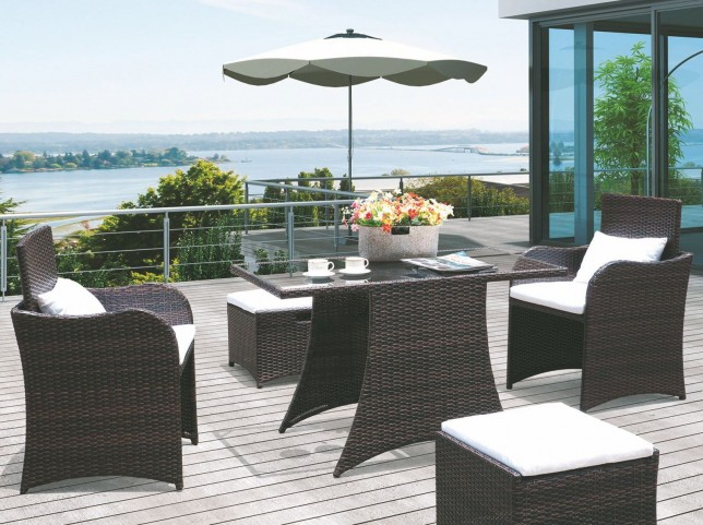 Artesia Brown and White 5 Piece Outdoor Patio Dining Set