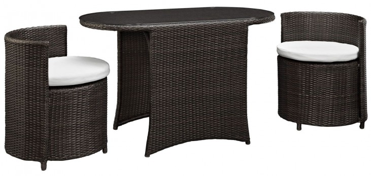 Katonti Brown and White 3 Piece Outdoor Patio Dining Set