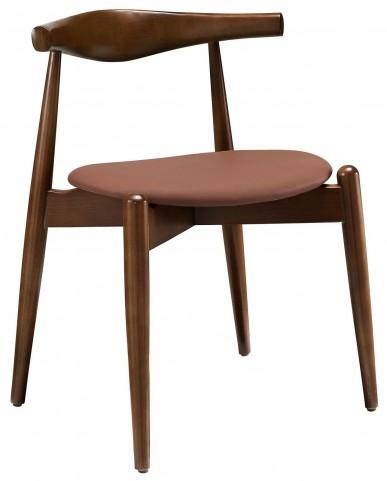 Stalwart Dark Walnut and Tan Dining Side Chair