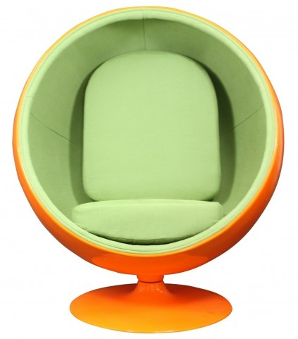 The Kaddur Chair in Orange Exterior with Green Interior