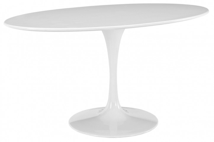 "Lippa White 60"" Oval-Shaped Wood Top Dining Table"