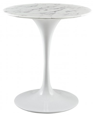 "Lippa White 28"" Artificial Marble Dining Table"