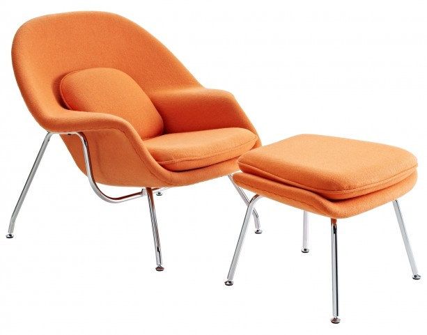 W Lounge Chair and Ottoman Set in Orange