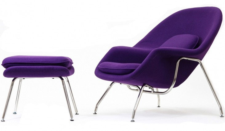 W Lounge Chair and Ottoman Set in Purple