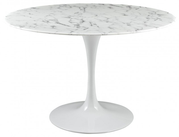"Lippa White 47"" Artificial Marble Dining Table"