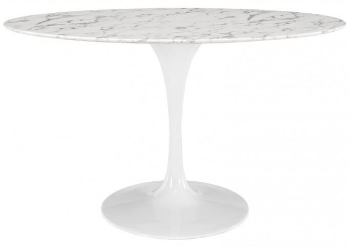 "Lippa White 54"" Oval-Shaped Artificial Marble Dining Table"