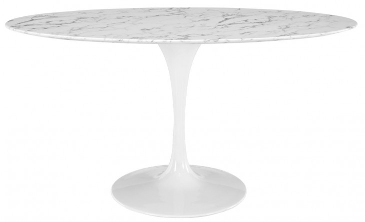 "Lippa White 60"" Oval-Shaped Artificial Marble Dining Table"