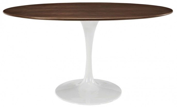 "Lippa Walnut 60"" Oval-Shaped Walnut Dining Table"