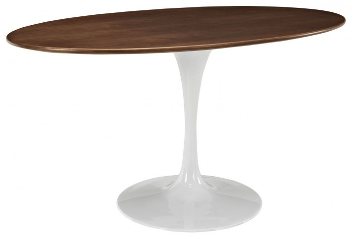 "Lippa Walnut 60"" Oval-Shaped Walnut Dining Table"