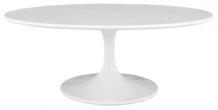 "Lippa White 42"" Oval-Shaped Wood Top Coffee Table"