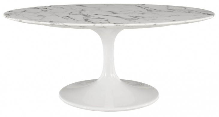 "Lippa White 42"" Oval-Shaped Artificial Marble Coffee Table"