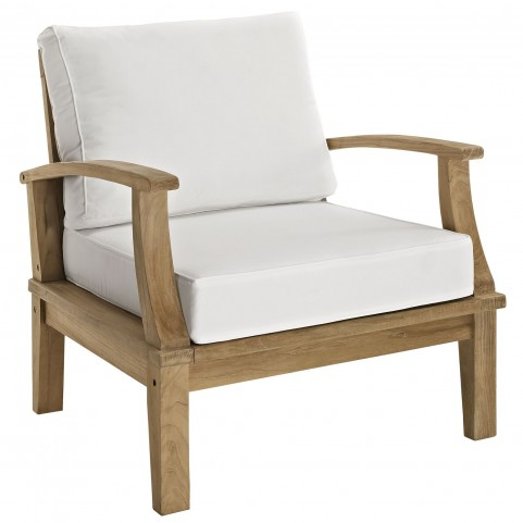 Marina Natural White Outdoor Patio Teak Armchair