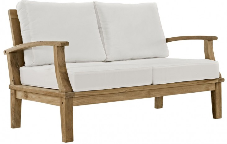 Marina Natural White Outdoor Patio Teak Loveseat