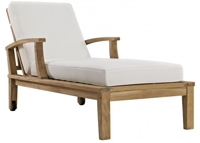 Marina Natural White Outdoor Patio Teak Single Chaise