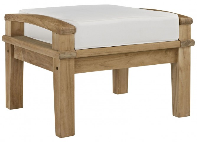 Marina Natural White Outdoor Patio Teak Ottoman