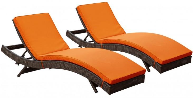 Peer Brown Orange Outdoor Patio Chaise Set of 2