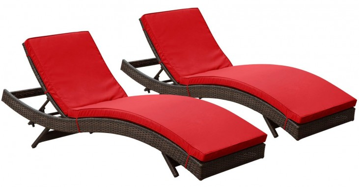 Peer Brown Red Outdoor Patio Chaise Set of 2