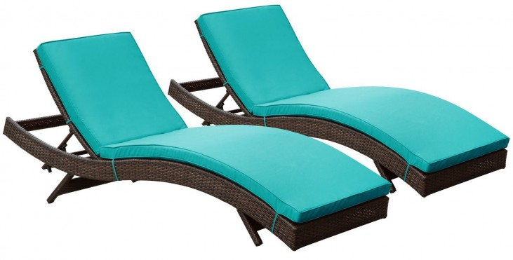 Peer Brown Turquoise Outdoor Chaise Patio Set of 2