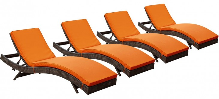 Peer Brown Orange Outdoor Patio Chaise Set of 4