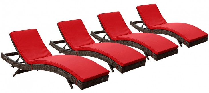 Peer Brown Red Outdoor Patio Chaise Set of 4