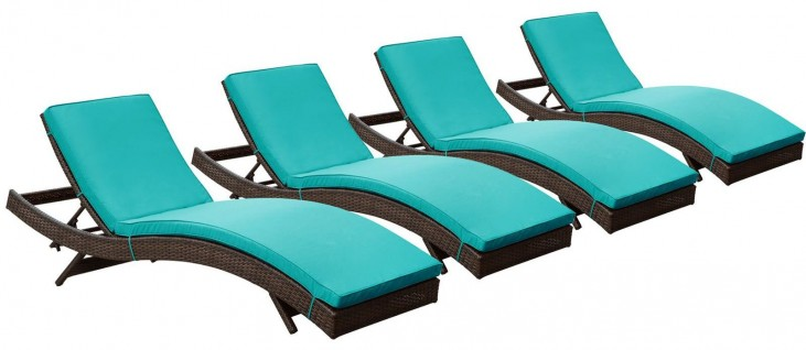 Peer Brown Turquoise Outdoor Patio Chaise Set of 4