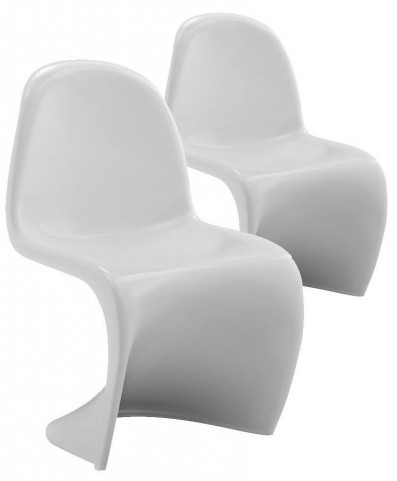 Slither Stackable White Kids Chair Set of 2