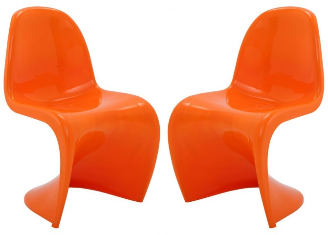 Slither Orange Dining Side Chair Set of 2