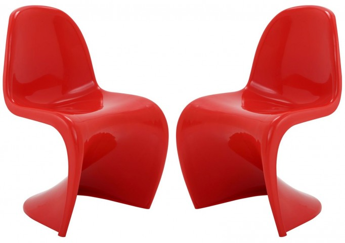 Slither Red Dining Side Chair Set of 2