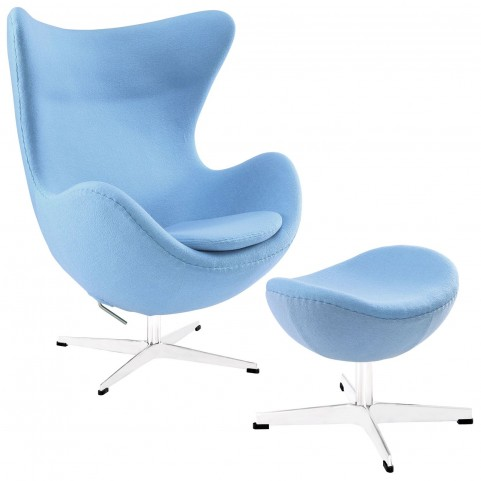 Glove Baby Blue Wool Lounge Chair and Ottoman Set