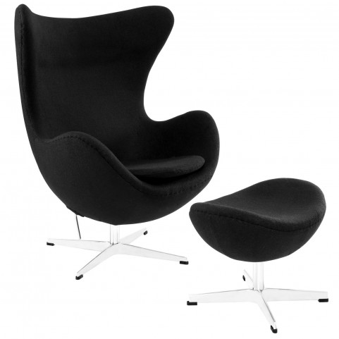 Glove Black Wool Lounge Chair and Ottoman Set