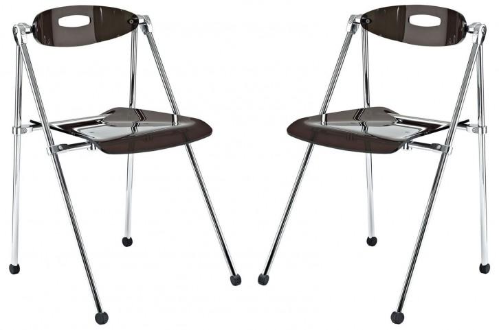 Telescope Smoke Folding Chair Set of 2