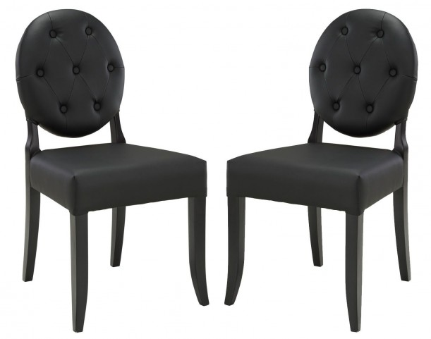 Button Black Dining Side Chair Set of 2