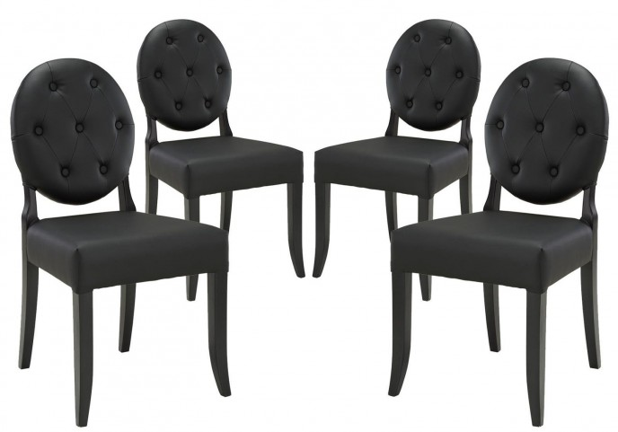 Button Black Dining Side Chair Set of 4