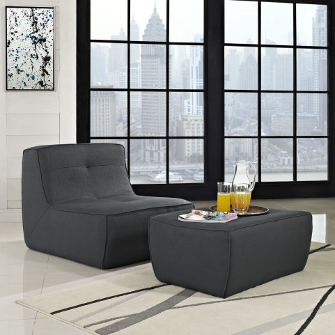 Align Charcoal 2 Piece Upholstered Armchair and Ottoman Set