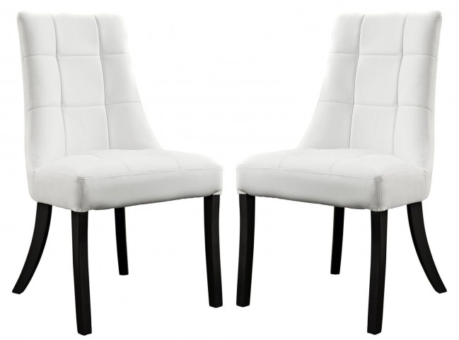 Noblesse White Vinyl Dining Chair Set of 2