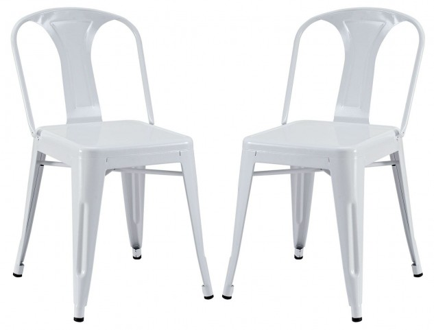 Reception White Dining Side Chair Set of 2